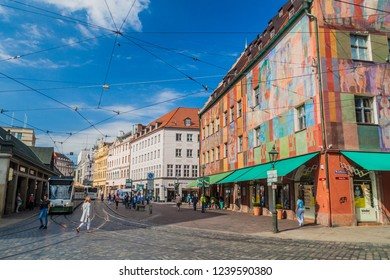AUGSBURG, GERMANY - SEPTEMBER 16, 2016: View of old houses at Moritzplatz square in Augsburg