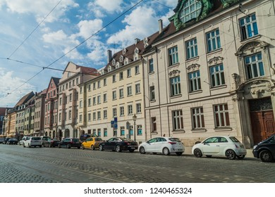 AUGSBURG, GERMANY - SEPTEMBER 16, 2016: View of old houses lining Maximilianstraße in Augsburg