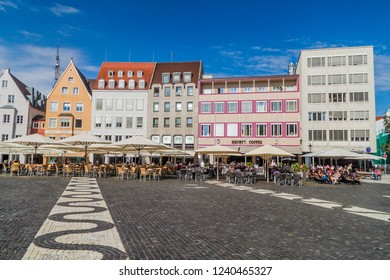 AUGSBURG, GERMANY - SEPTEMBER 16, 2016: View of Rathausplatz (Town hall square) in Augsburg