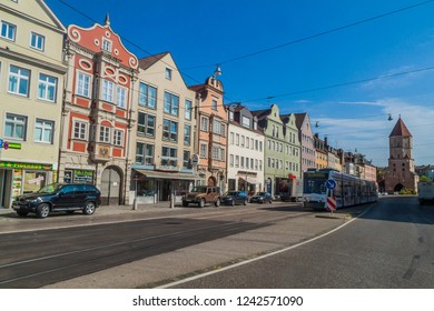 AUGSBURG, GERMANY - SEPTEMBER 16, 2016: Jakobstrasse street in the old town of Augsburg