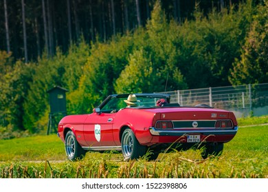 Augsburg, Germany - September 29, 2019: 1972 Ford Mustang 760 american oldtimer muscle car at the Fuggerstadt Classic 2019 Oldtimer Rallye.