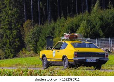 Augsburg, Germany - September 29, 2019: 1972 Ford Taunus GT Coupé oldtimer car at the Fuggerstadt Classic 2019 Oldtimer Rallye.