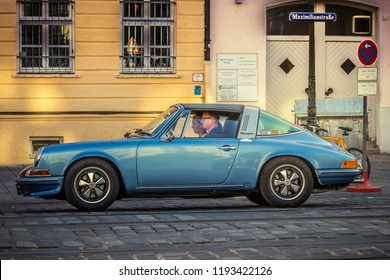 Augsburg, Germany - September 30, 2018: Porsche 911 oldtimer car at the Fuggerstadt Classic 2018 Oldtimer Rallye.