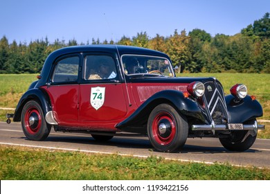 Augsburg, Germany - September 30, 2018: 1953 Citroen 11 CV BL Traction Avant oldtimer car at the Fuggerstadt Classic 2018 Oldtimer Rallye.