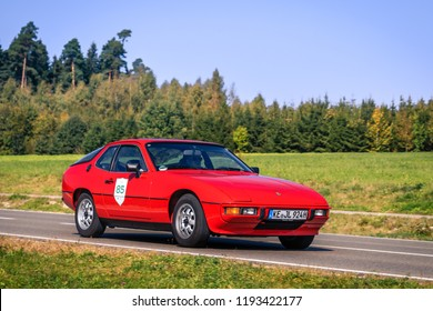 Augsburg, Germany - September 30, 2018: Porsche 924 oldtimer car at the Fuggerstadt Classic 2018 Oldtimer Rallye.