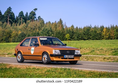 Augsburg, Germany - September 30, 2018: 1983 Opel Kadett D oldtimer car at the Fuggerstadt Classic 2018 Oldtimer Rallye.
