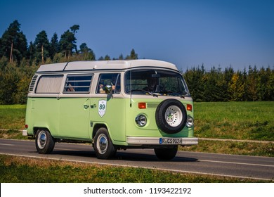 Augsburg, Germany - September 30, 2018: Volkswagen Typ 2 T2 oldtimer car at the Fuggerstadt Classic 2018 Oldtimer Rallye.