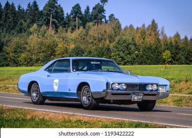 Augsburg, Germany - September 30, 2018: Buick Riviera oldtimer car at the Fuggerstadt Classic 2018 Oldtimer Rallye.