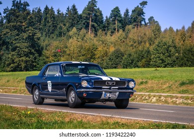 Augsburg, Germany - September 30, 2018: Ford Mustang oldtimer car at the Fuggerstadt Classic 2018 Oldtimer Rallye.