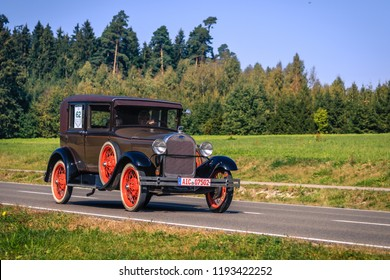Augsburg, Germany - September 30, 2018: 1928 Ford Model A oldtimer car oldtimer car at the Fuggerstadt Classic 2018 Oldtimer Rallye.