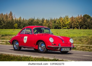 Augsburg, Germany - September 30, 2018: Porsche 356 oldtimer car at the Fuggerstadt Classic 2018 Oldtimer Rallye.