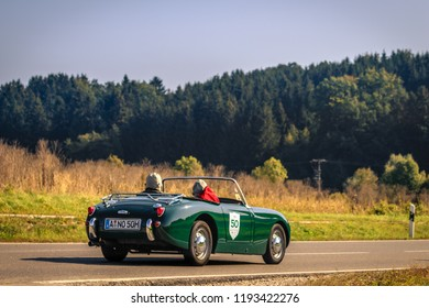 Augsburg, Germany - September 30, 2018: Green cabrio oldtimer car at the Fuggerstadt Classic 2018 Oldtimer Rallye.