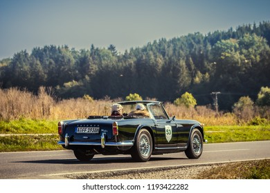Augsburg, Germany - September 30, 2018: Triumph TR4A IRS oldtimer car at the Fuggerstadt Classic 2018 Oldtimer Rallye.