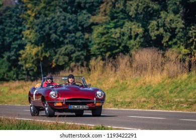Augsburg, Germany - September 30, 2018: Jaguar E-Type oldtimer car at the Fuggerstadt Classic 2018 Oldtimer Rallye.
