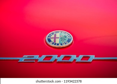 Augsburg, Germany - September 30, 2018: 1975 Alfa Romeo Bertone GT 2.0 2000 Veloce oldtimer car at the Fuggerstadt Classic 2018 Oldtimer Rallye.