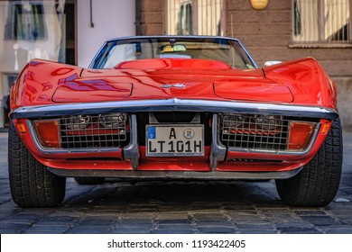 Augsburg, Germany - September 30, 2018: 1971 Chevrolet Corvette C3-LT1 Stingray oldtimer car at the Fuggerstadt Classic 2018 Oldtimer Rallye.