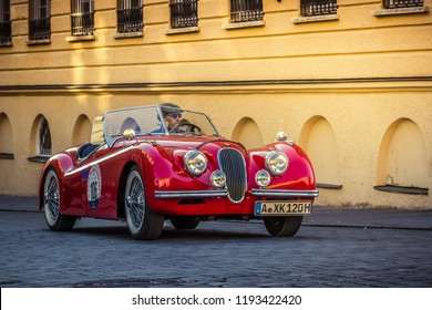 Augsburg, Germany - September 30, 2018: 1949 Jaguar XK120 oldtimer car at the Fuggerstadt Classic 2018 Oldtimer Rallye.