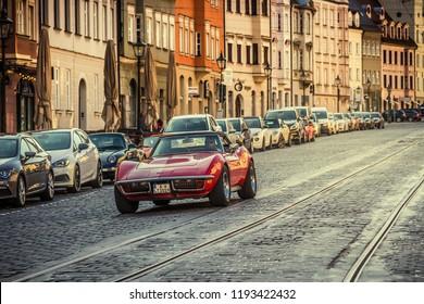 Augsburg, Germany - September 30, 2018: 1971 Chevrolet Corvette C3-LT1 Stingray oldtimer car at the Fuggerstadt Classic 2018 Oldtimer Rallye.