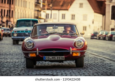 Augsburg, Germany - September 30, 2018: Jaguar E-Type oldtimer car at the Fuggerstadt Classic 2018 Oldtimer Rallye.