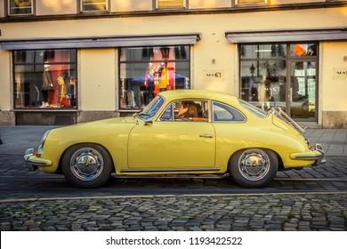 Augsburg, Germany - September 30, 2018: Porsche 356 oldtimer car at the Fuggerstadt Classic 2018 Oldtimer Rallye.
