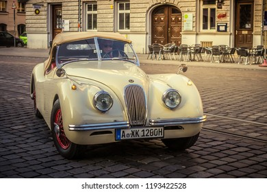 Augsburg, Germany - September 30, 2018: 1948 Jaguar XK120 oldtimer car at the Fuggerstadt Classic 2018 Oldtimer Rallye.