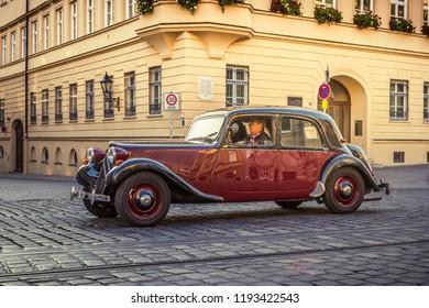 Augsburg, Germany - September 30, 2018: 1953 Citroen 11 CV BL Traction Avant oldtimer car at the Fuggerstadt Classic 2018 Oldtimer Rallye.