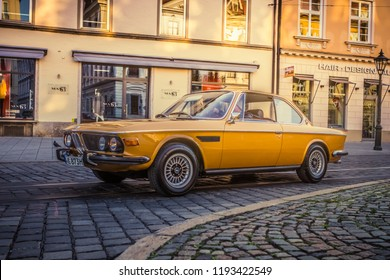 Augsburg, Germany - September 30, 2018: 1973 BMW 3.0 CS Coupe oldtimer car at the Fuggerstadt Classic 2018 Oldtimer Rallye.