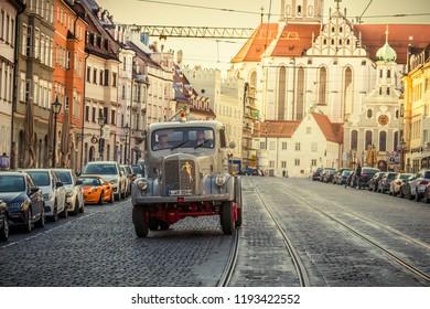 Augsburg, Germany - September 30, 2018: 1957 Mercedes-Benz oldtimer truck at the Fuggerstadt Classic 2018 Oldtimer Rallye.