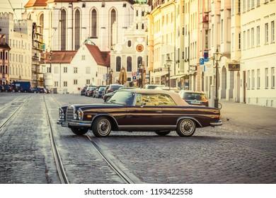 Augsburg, Germany - September 30, 2018: Mercedes-Benz oldtimer car at the Fuggerstadt Classic 2018 Oldtimer Rallye.