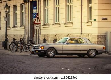 Augsburg, Germany - September 30, 2018: Mercedes-Benz 380 SLC oldtimer car at the Fuggerstadt Classic 2018 Oldtimer Rallye.