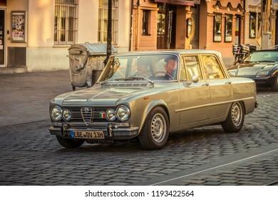 Augsburg, Germany - September 30, 2018: Alfa Romeo Giulia Super 1.3 oldtimer car at the Fuggerstadt Classic 2018 Oldtimer Rallye.