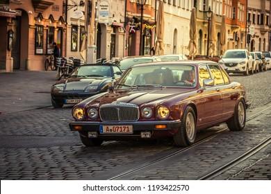 Augsburg, Germany - September 30, 2018: Daimler oldtimer car at the Fuggerstadt Classic 2018 Oldtimer Rallye.