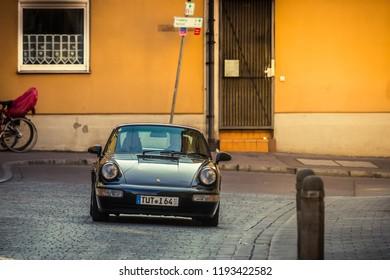 Augsburg, Germany - September 30, 2018: Porsche 911 oldtimer car at the Fuggerstadt Classic 2018 Oldtimer Rallye.