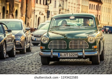 Augsburg, Germany - September 30, 2018: 1970 Volvo P122 S Amazon oldtimer car at the Fuggerstadt Classic 2018 Oldtimer Rallye.