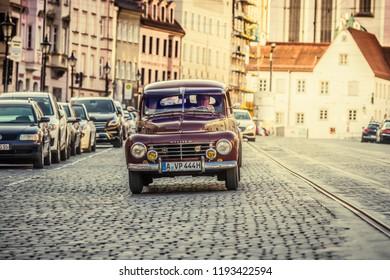 Augsburg, Germany - September 30, 2018: 1953 Volvo PV 444 oldtimer car at the Fuggerstadt Classic 2018 Oldtimer Rallye.