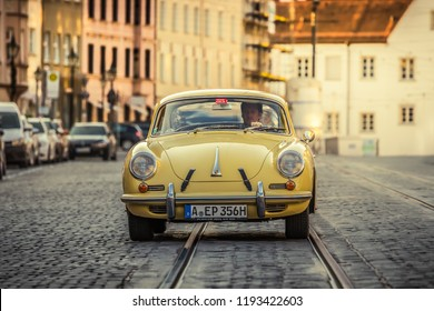 Augsburg, Germany - September 30, 2018: 1963 Porsche 356 C 1600 Coupe oldtimer car at the Fuggerstadt Classic 2018 Oldtimer Rallye.