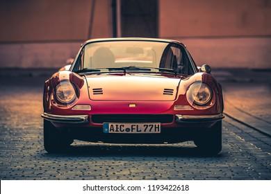 Augsburg, Germany - September 30, 2018: 1973 Ferrari Dino 246 GTS oldtimer car at the Fuggerstadt Classic 2018 Oldtimer Rallye.