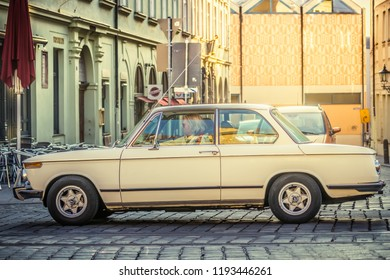 Augsburg, Germany - September 30, 2018: 1972 BMW 2002 ti oldtimer car at the Fuggerstadt Classic 2018 Oldtimer Rallye.