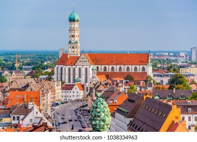 Augsburg, Germany skyline with cathedrals.