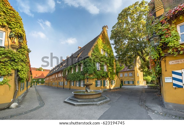 Augsburg,Germany - October 2016: walking at Fuggerei on a sunny day