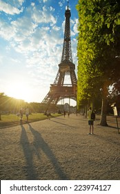 August 04, Paris - sunny evening and Eiffel Tower, Paris, France