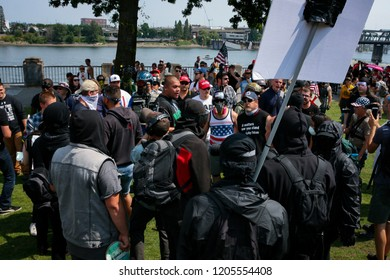 AUGUST 05 2017, PORTLAND, OR - The Proud Boys hold a far-right political rally on the waterfront. Several Portland groups formed a counter-protest.