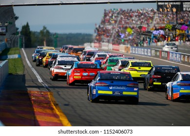 August 05, 2018 - Watkins Glen , New York, USA: Darrell Wallace, Jr (43) battles for position during the Go Bowling at The Glen at Watkins Glen International in Watkins Glen , New York.