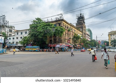 August 06,2017, Kolkata,West bengal,India. View of Indian city road with morning traffic in front of heritage Colonial building.