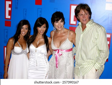 August 1, 2005. Bruce Jenner, Kris Jenner, Kim Kardashian and Kourtney Kardashian attends at the E! Entertainment Television's Summer Splash Event at The Hollywood Roosevelt Hotel in Hollywood.
