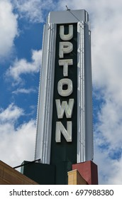 AUGUST 1 2017 - MINNEAPOLIS, MINNESOTA: Famous sign for the Uptown Theater in  the Uptown Minneapolis, Minnesota neighborhood on a cloudy summer day.