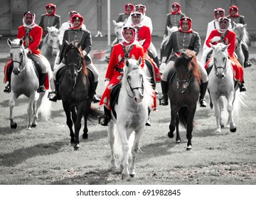 August 1, 2017: Police horsemen in Bahrain go through an exercise at their training facility in Budaiya. These horsemen show their prowess regularly at national events and public functions.