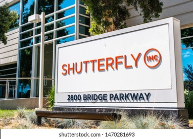August 1, 2019 Redwood City / CA / USA - Shutterfly sign at their HQ located in Silicon Valley; Shutterfly, Inc. is an American Internet-based company specializing in image-publishing services