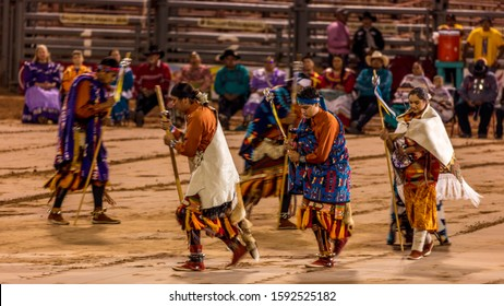 AUGUST 10 & 11, 2019 - GALLUP NEW MEXICO, USA - Cermonial Dancing Native Americans & Navajo at 98th Gallup Inter-tribal Indian Ceremonial, New Mexico