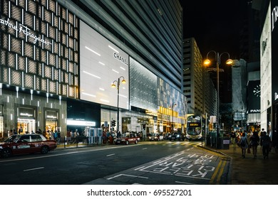 August 10, 2017, Tsim Sha Tsui, Hong Kong Canton Road at night, there is a luxury brands shopping street in Hong Kong